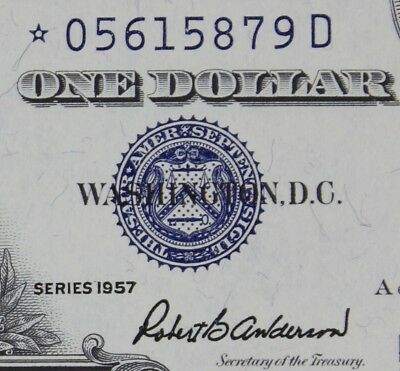 $1 1957 STAR *D GEM Silver Certificate *05615879D KEY Plain Series, FREE SHIP.
