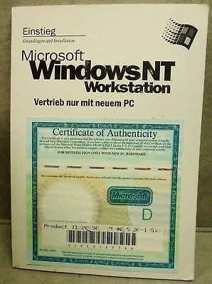 Microsoft WindowsNT Workstation 4.0, Handbuch (deutsch) und Product key, ohne CD