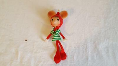 "Vintage Flocked Christmas Mouse 6"" Poseable Wired Xmas Missing Fuzz On Nose Area"