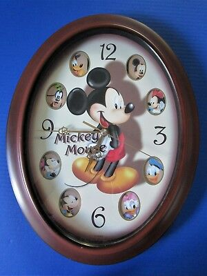 Disney Mickey Mouse And Friends Childrens Oval Wall Clock Glass Cover Disneyana