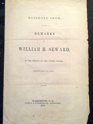 """Antique bill introduced to the Senate """"Railroad Iron"""", by William Steward 1855"""