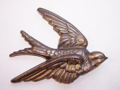 "Vintage 1930s Cast BRASS FLYING SWALLOW Wall Display/Plaque 3.5""  ART DECO"