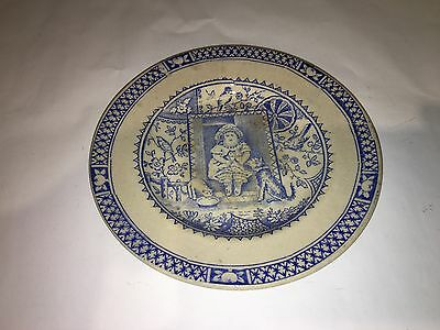 "Charles Allerton & Sons ""Little Mae"" Blue Transferware Child's Tea Set Plate"