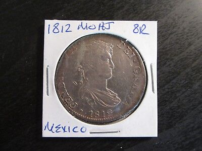 1812 Mo HJ Mexico Silver 8 Reales in VF Condition