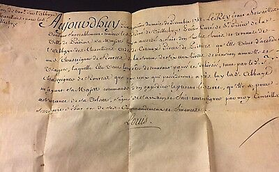 X Rare Signed Appraised Authenticated French King Louis XV Document Dec 1742 NR