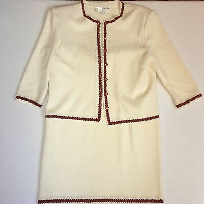 St. John by Marie Gray Ivory Red 2 Piece Skirt Suit Skirt Size 10 Jacket Size 8