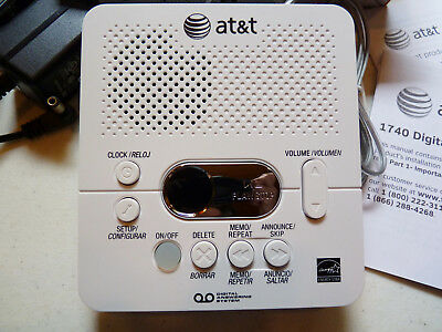 AT&T (1740WH) Digital Ans.System with Time and Day Stamp, White, NEW