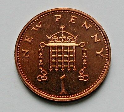 1974 UK (British) Coin - 1 New Penny - AU++ toned-lustre (from mint set)