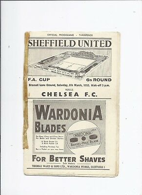 Sheffield United v Chelsea 8 March 1952 FA Cup Quarter Final