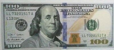 New Version Of The $100 Donomination Full Size Print Prop Money