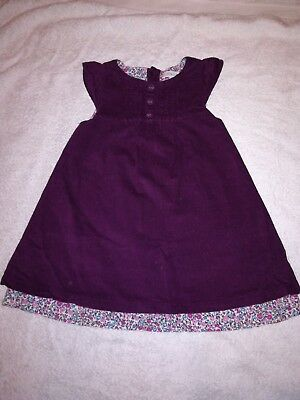Jojo Maman Bebe girls plum cord pinafore dress 6-12 months
