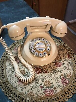 Retro Vintage Old Style Desk Telephone Push Button  Appears  Reproduction