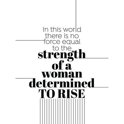 Woman Strength Determined Lines Wall Art Print