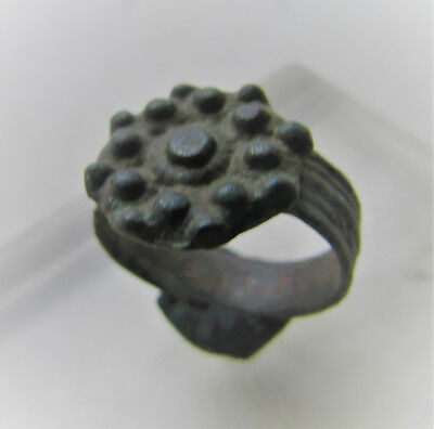 Beautiful Ancient Tudor Bronze Ring With Floral Bezel
