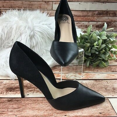 f8309a11a26 Vince Camuto Women s Black Leather D Orsay Pointed Toe Slip On Airmosah  Pumps