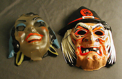 2 VINTAGE CHILD'S HALLOWEEN MASK - WITCH AND GYPSY - USA - mk