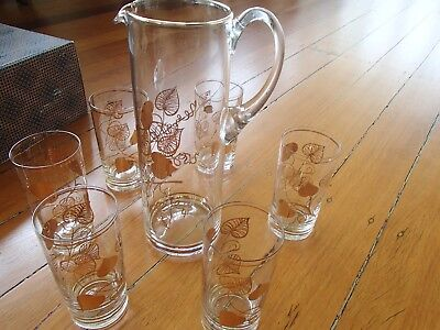 Retro Vintage Gold Trimmed Bohemia Glass Jug Set With Matching 6 Glasses