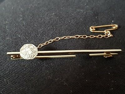 Vintage Victorian antique hand made brooch. Gold / Platinum and 9 diamonds.