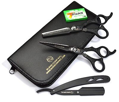 "6"" Professional Hairdressing Scissors Barber Salon Haircutting Shear Black Set"