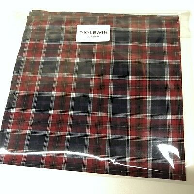 Mens Pocket Square T.M.LEWIN Blue Red Check Hand Rolled Cotton Handkerchief Hank