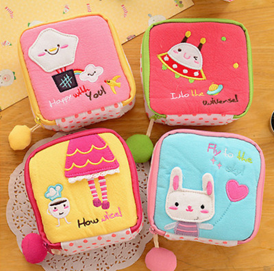 Coin bag make up bag Cute girl stuff pocket UFO rabbit Flower Heart Zip Travel