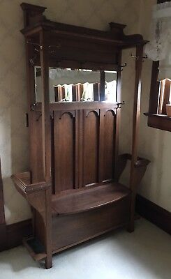 Antique Hall Tree Bench Mirror Seat Mission Large Ornate Hat Rustic