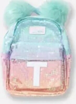f6a2091d0a2c NWT Justice Girls Ombre Initial t Mini Backpack Sequin Accessory Purse