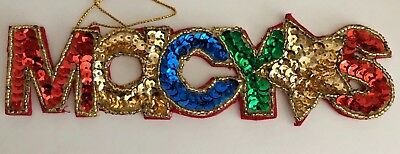 Vintage MACYS 1997 Sequin Letters 7 inch Christmas Tree Ornament
