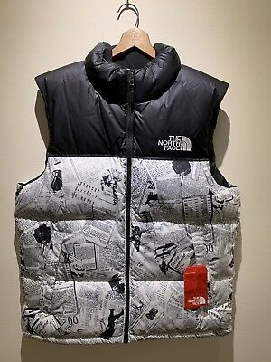 New  179 The North Face TNF Men s Lrg Novelty Nuptse Catalogue Collage Down  Vest c66a91f1e