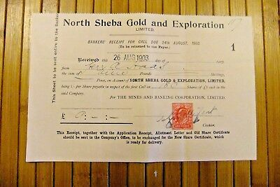 1903 British Stock Receipt For Call Options - NORTH SHEBA GOLD