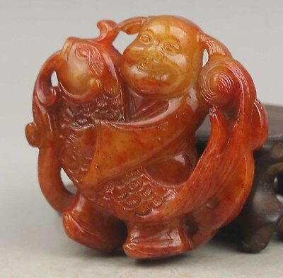 Chinese old natural jade hand-carved fish pendant 2 inch