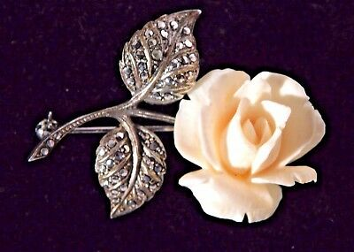 Vtg. Sterling Silver Carved Faux Ivory Rose Pin Brooch with Marcasites Germany