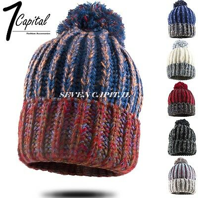 00935bf082a Womens Winter Warm Slouchy Knitted Beanie Hat Ski Skull Pom Baggy Cap Two  Tone