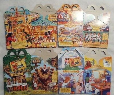 McDonald's Happy Meal Boxes Hook Lot of (4) 1991 Kids Fast Food Fun Pirates Film