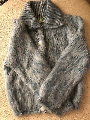 VTG The Shag*EUC orlon blue mohair like fuzzy cropped sweater cardigan*Size XS/S