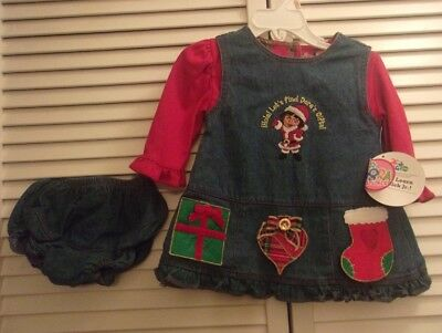 Nick Jr. Dora the Explorer Denim Christmas Dress and Bloomers Size 12M NWT