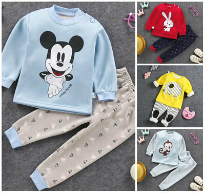 2pcs Toddler Kids baby boys girls warm winter fleece pajamas outfit for winter