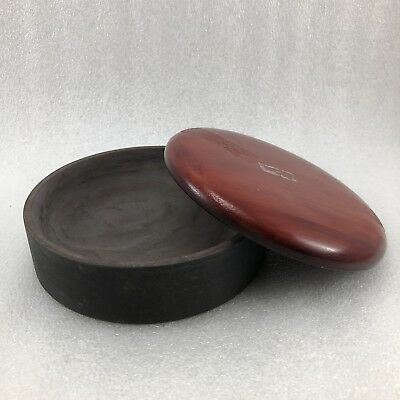 K59 Japanese  Round Ink Stone Calligraphy Wood Cover Lid