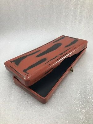 #8  Japanese Vintage Makie red lacquer wood Letter Box Fubako