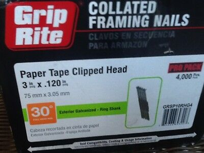 "4000 Grip-Rite 3""x.120 EXTERIOR GALVANIZED CLIPPED HEAD PAPER TAPE FRAMING NAILS"