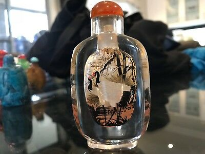 Beautifully Inside Painted Glass Snuff Bottle - Storks/Cranes