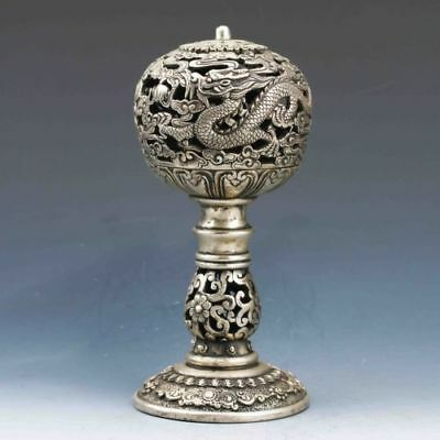 Exquisite Tibetan Silver Dragon Incense Burner BT0135