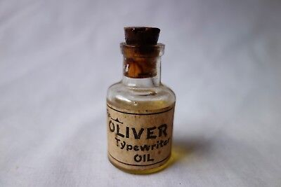 Antique The Oliver Typewriter Oil Bottle Glass w Label
