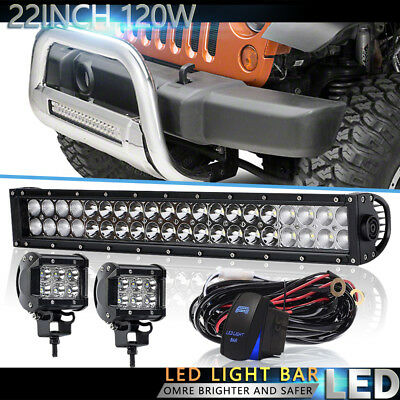 22Inch Dual Row Led Light Bar For Jeep Offroad SUV UTE e-350 super duty