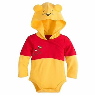 Disney Store Winnie the Pooh Baby Bodysuit Costume Shoes Dress Up Hood Halloween