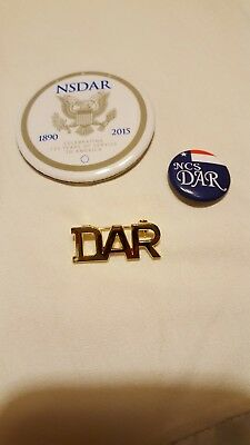 DAR Daughters of the American Revolution Lot of Three Pins~ Gold Tone