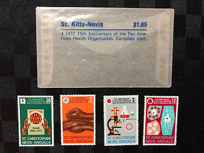 4 x 1977 St Christopher Nevis Anguilla stamps - Pan American Health Organization