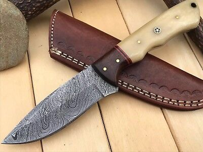 HUNTEX Custom Handmade Damascus 8.8 Inch Long Full Tang Hunting Skinning Knife