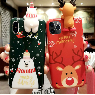 For iPhone 11 Pro XS Max XR X 6 7 8 3D Christmas Elk Snowman Silicone Case Cover