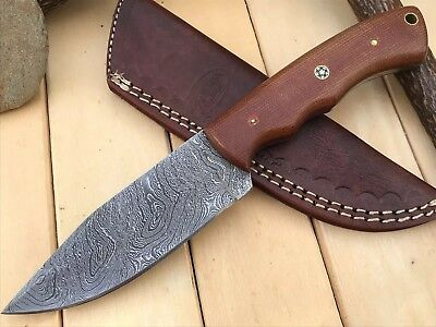 "HUNTEX Custom Handmade Damascus 9"" Long Full Tang Macarta Hunting Skinning Knife"